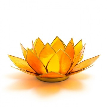 Lotus telysholder stor orange, (hara chakra), 13,5 cm