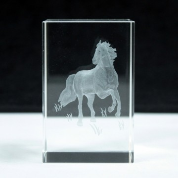 Laser Crystal Block - Standing Horse
