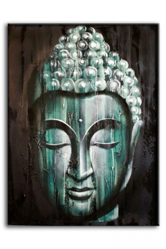 Maleri Wood Buddha Green 80 x 60 cm