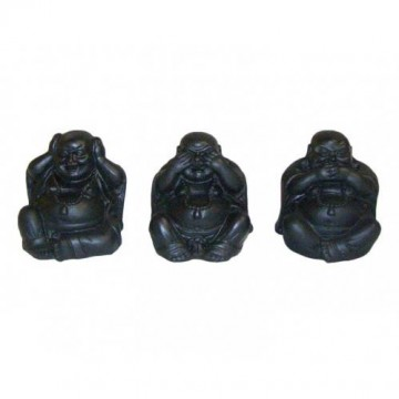 Hear No Evil, Speak No Evil, See No Evil Buddha, svart, 3 stk, 5 cm
