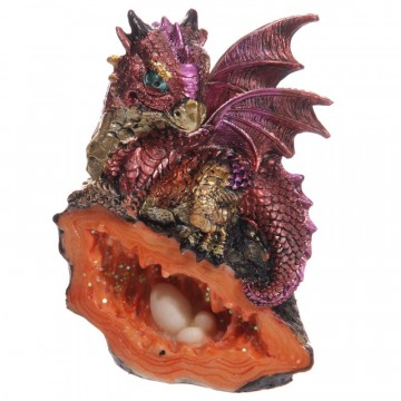 Cute Baby Dragon with Crystal Cave, rød 12 cm