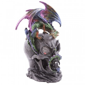 Dark Legends - Dragon on Clear Crystal Eyed Skull 27 cm