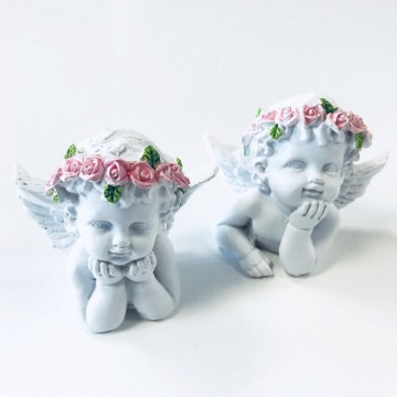 Angel Head and Shoulders with Pink Roses  6,5 cm