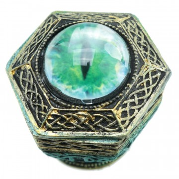 Dark Legends - All Seeing Eye Haxagonal Dragon Trinket Box, grønn 10 cm