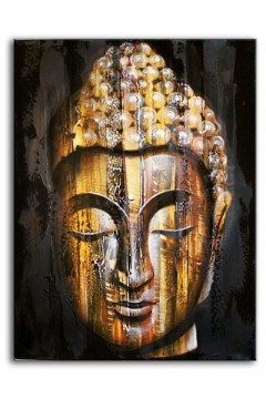 Maleri Wood Buddha Golden 80 x 60 cm