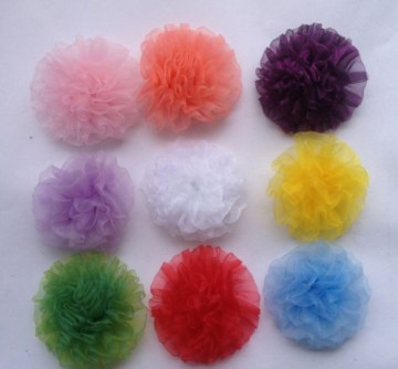 Hårblomst Fashion Hot Organza med clips 8 cm, grønn