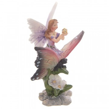 Flower Fairy Riding a Butterfly, lilla 10 cm
