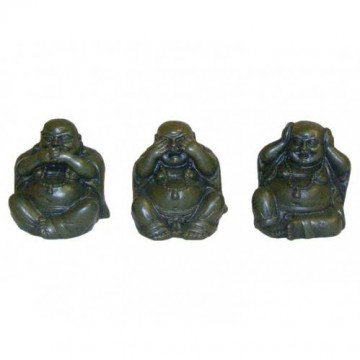 Hear No Evil, Speak No Evil, See No Evil Buddha, grønn, 3 stk, 5 cm