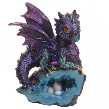 Cute Baby Dragon with Crystal Cave, lilla 12 cm