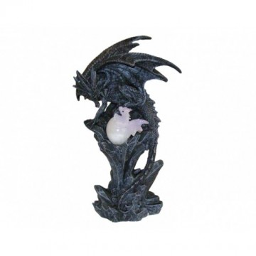 Powerful Black Dragon Protecting LED Baby Dragon With Egg, lilla 24 cm