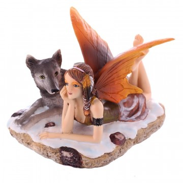 Mystic Realms Laying Snow Fairy and Wolf 11 cm